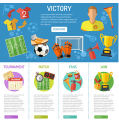 soccer banner and infographics vector image