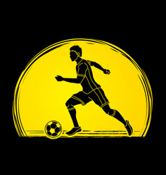 soccer player running with soccer ball vector image vector image