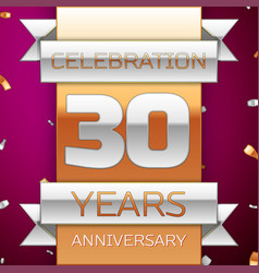 thirty years anniversary celebration design vector image