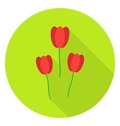 Three Tulips Garden Flowers Circle Icon vector image vector image