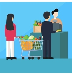 waiting inline queue pay cashier grocery shopping vector image