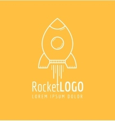 White outline rocket icon logo vector
