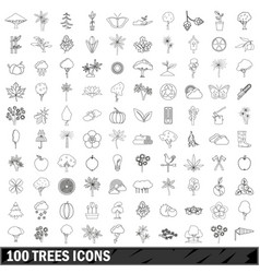 100 trees icons set outline style vector