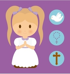 Girl kid cartoon dove cross rosary icon vector