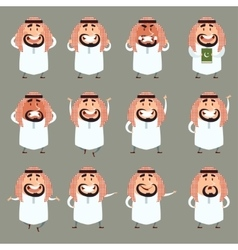Set of cartoon muslim icons2 vector