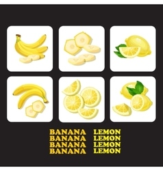 With ripe banana lemon and vector