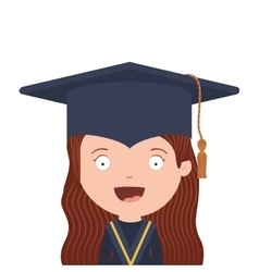 Half body avatar girl with graduation outfit vector