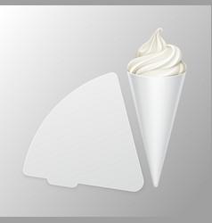 Vwhite soft ice cream waffle cone in carton foil vector