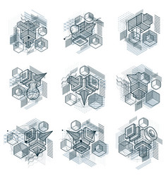 Backgrounds with abstract isometric lines and vector