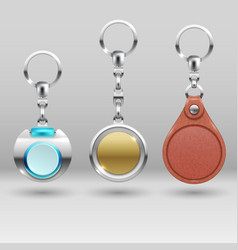 Realistic keychains car key holders set vector