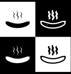 Sausage simple sign  black and white icons vector