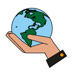 Hand and globe design vector