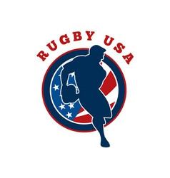 rugby player flag united states of america vector image