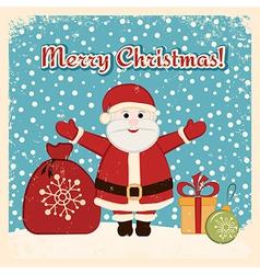Retro Christmas card with happy Santa Claus vector image