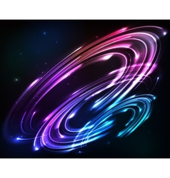 Shining neon lights cosmic abstract background vector