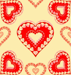 Valentines day red hearts seamless texture gold vector