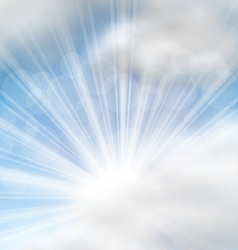 Cloudscape background with sun rays vector