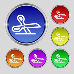 Scissors icon sign round symbol on bright vector