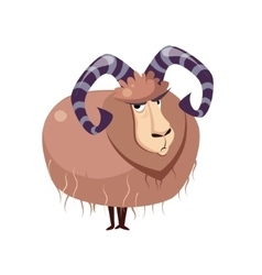 Wool goat with big horns vector
