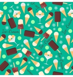 Seamless pattern with ice creams isolated on green vector image