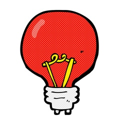 Comic cartoon red light bulb vector