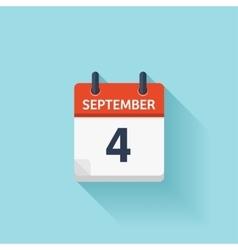 September 4  flat daily calendar icon vector image