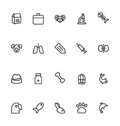 Veterinary Outline Icons 2 vector image