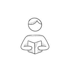 Man reading book sketch icon vector
