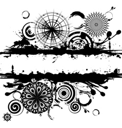 Black and white circles abstract vector