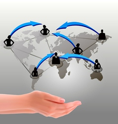 Hands holding social network vector image