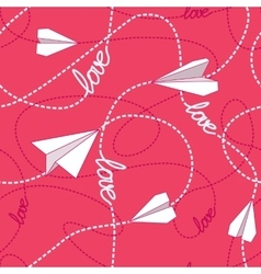 Paper planes love seamless pattern vector