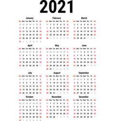 calendar for 2021 vector image