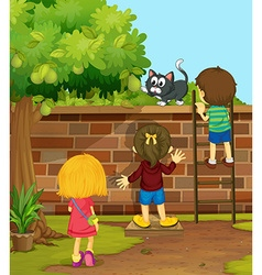 Children climbing up the wall vector image vector image