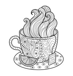 Cup of tea coloring book vector
