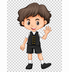 Cute boy waving hand on transparent background vector