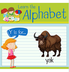 Flashcard letter y is for yak vector