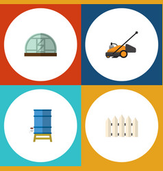 flat icon dacha set of container wooden barrier vector image