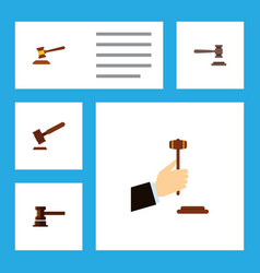 Flat icon lawyer set of legal hammer government vector