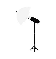 flat studio flash umbrella light at tripod vector image vector image