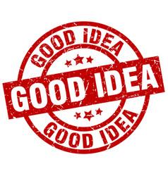 Good idea round red grunge stamp vector