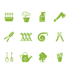Green gardening tools and accessories icons set vector
