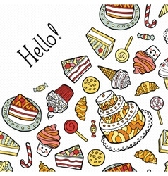 Greeting Card with doodle sweets on dotted vector image
