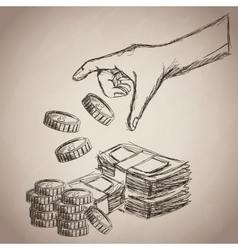 Hand coins bills money business icon vector