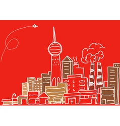 Hand-drawn modern city sketch vector image vector image