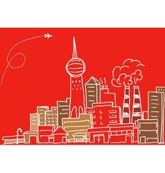 Hand-drawn modern city sketch vector