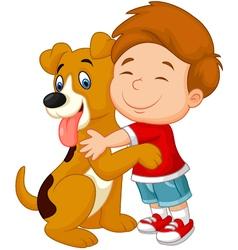 Happy young boy lovingly hugging his pet dog vector