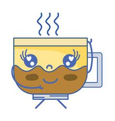 kawaii cute happy coffee cup vector image vector image