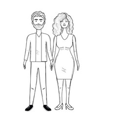 Line nice couple with hairstyle and elegant wear vector