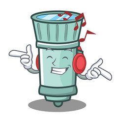 Listening music flashlight cartoon character style vector