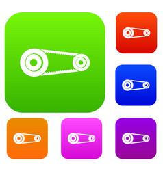 Mechanic belt set color collection vector
